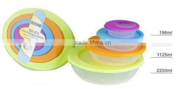 set of 3 round air-tight container food storage plastic box