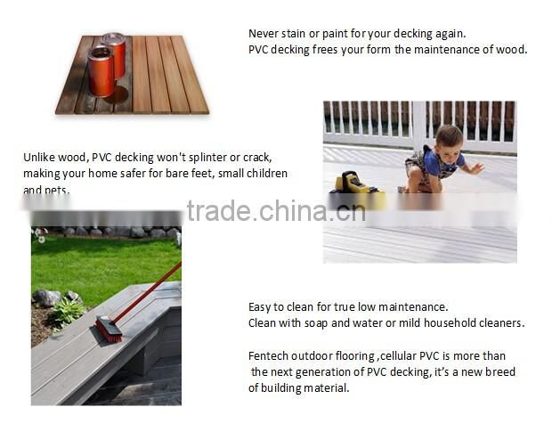 Wood texture skidproof 100% pvc decking price