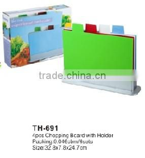 As Seen On TV Cutting Board Set 4pcs Index Chopping Board With Holder