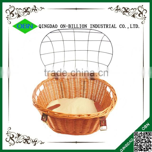 Removable cover lid dog wicker pet bicyle basket