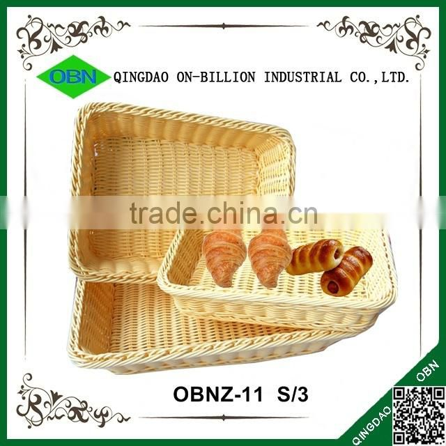 Recycled hand woven heated plastic bread basket