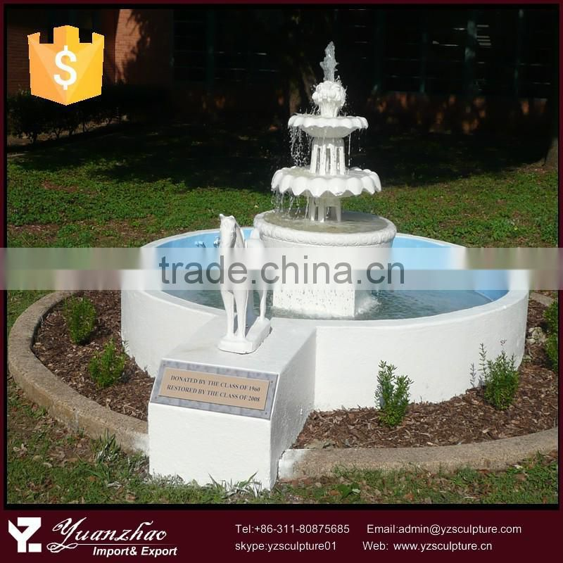 Outdoor decorative large 3 tier stone animal horse water fountain
