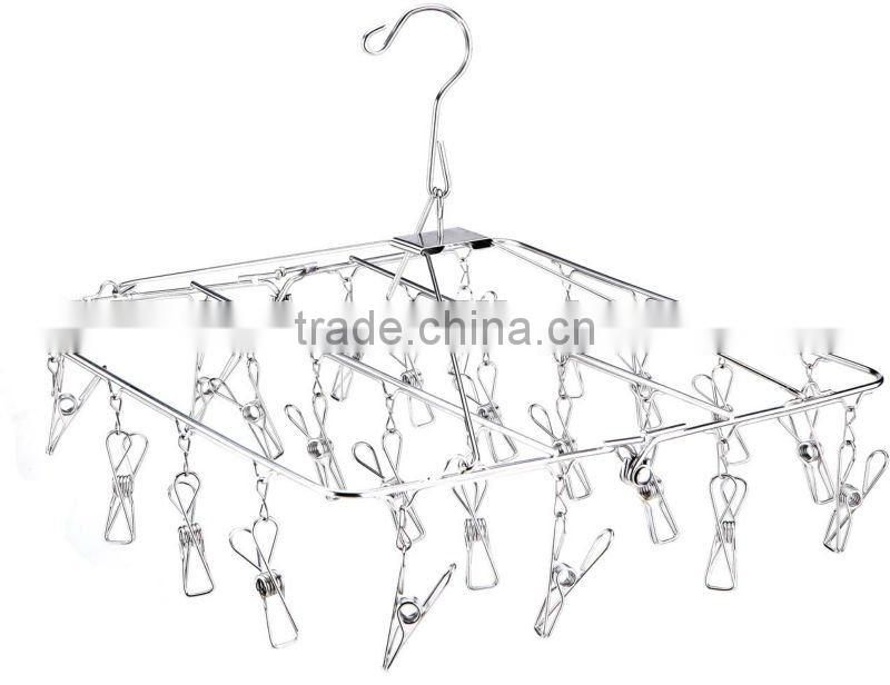 stainless steel clothes hanger Laudry clips hanger;stainless steel clips hanger clothes hanger with 20 pegs