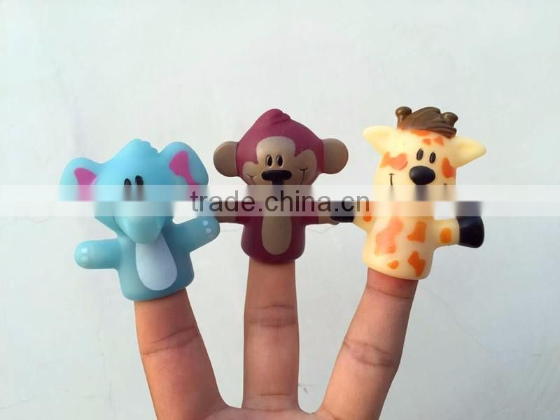 Animal vinyl lovely finger soft puppet kids toys /pen puppet