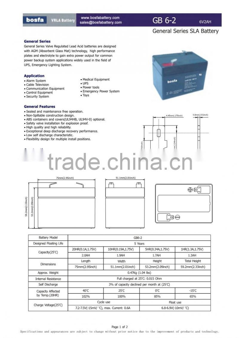sealed lead acid battery 6v 2ah for fan with 6v2ah battery