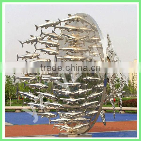 Large garden stainless steel fish statue for sale