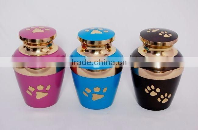 shiny coloured finished metal urns