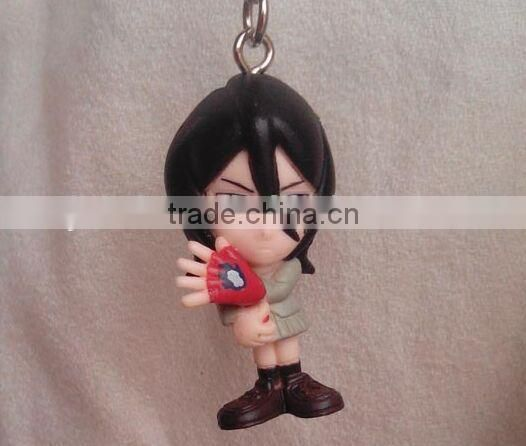 naruto Figure soft Rubber Keychain,Customized 3D naruto figure pvc keychain,anime figure plastickeychain