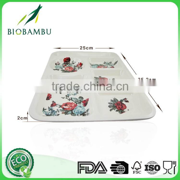 Factory price Eco OEM available Bamboo Fiber Divided Dinner Plate