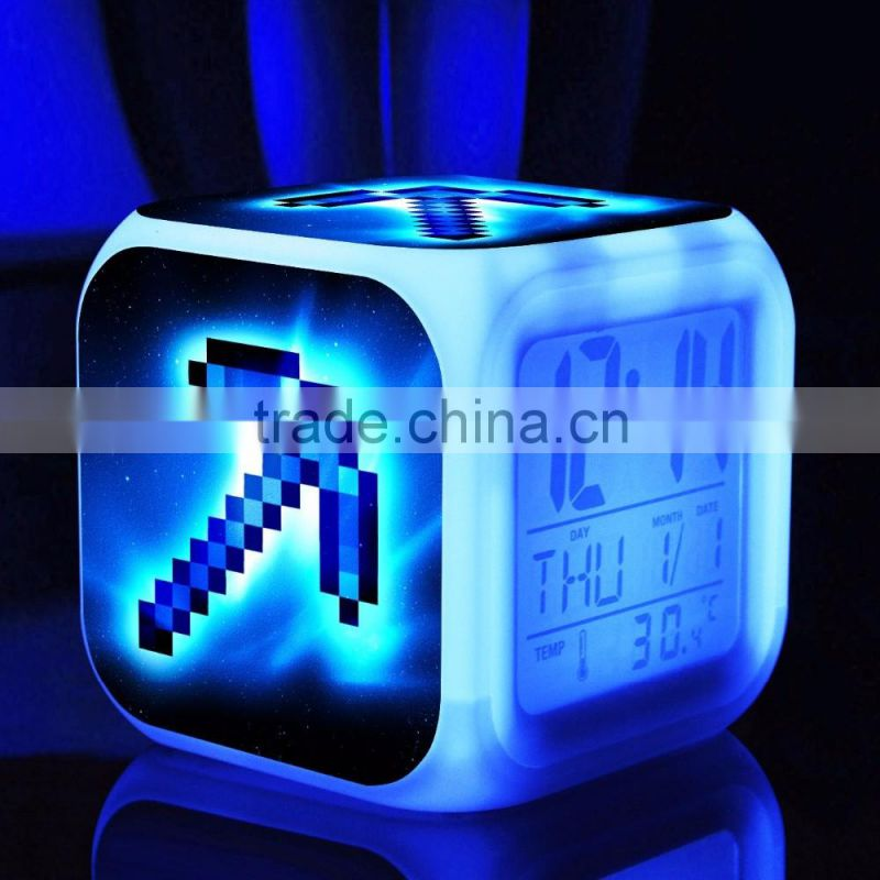 led glowing digital wall clock
