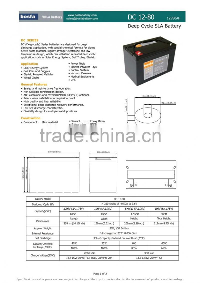 solar battery power 12v80ah computer back up battery oem