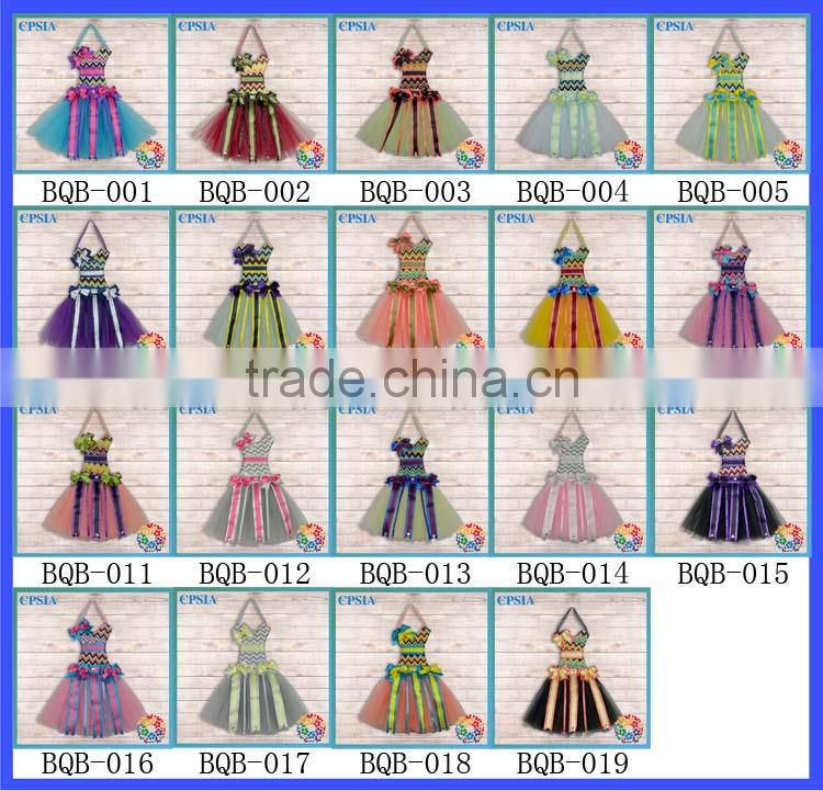 Grey Striped Rhinestone Yellow ribbon bow holder Tulle Pettiskirt Beautiful Party Tutus dresses Decoration for Boutique