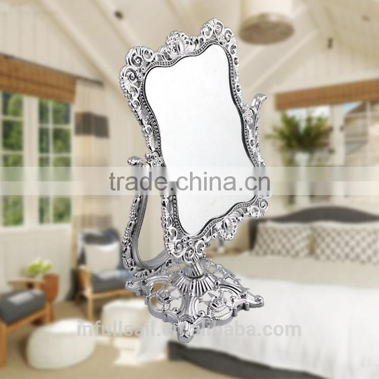 plastic double sides mirror 2xmagnifying mirror high quality free standing desktop mirror
