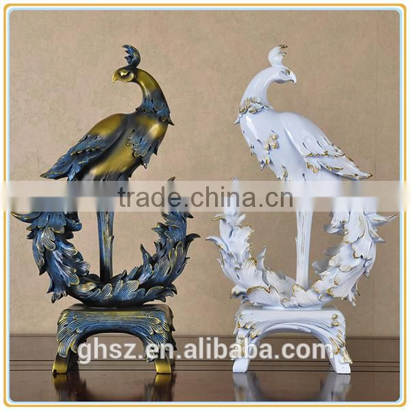 Custom popular vintage resin crane garden statue decor
