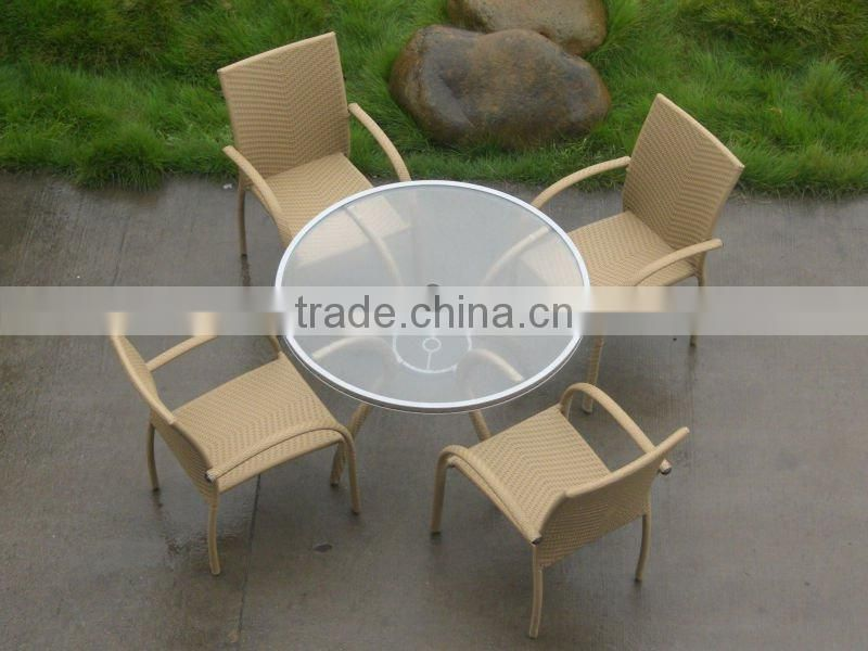 aluminum frame rattan coffee set with round table