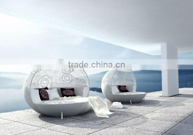 modern unique design round rattan lounge bed