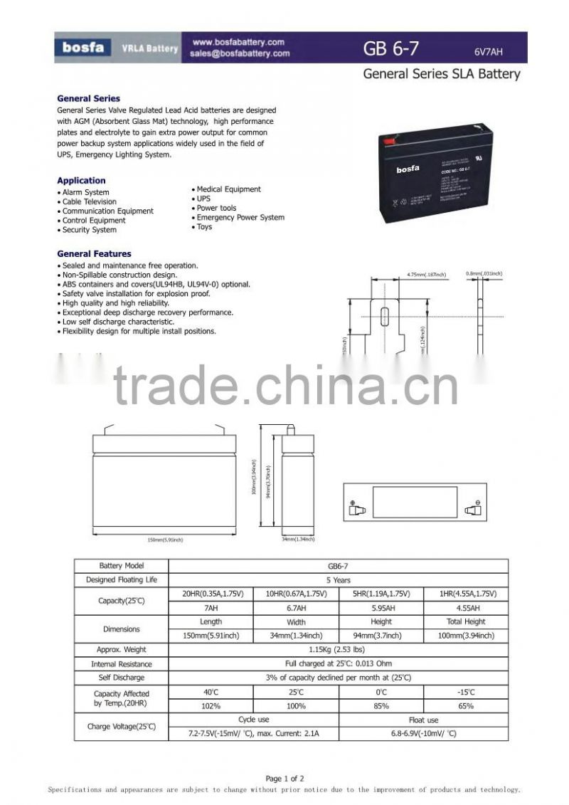 lead acid storage battery 6v 7ah for electric power equipment