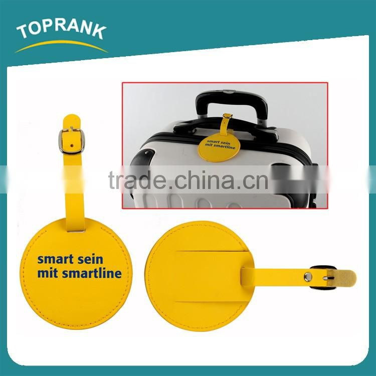 Toprank New Design Personized Customized Colorful Round Shaped Pu Luggage Tag Travel Baggage Tag For Promotion