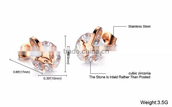 Beautiful Rose Gold Plated Earring Stainless Steel Cute Fox Animal Stud Earring for Women