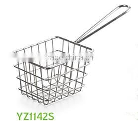 Eco-friendly stainless steel cooking french fries wire mesh deep filter mini fry basket