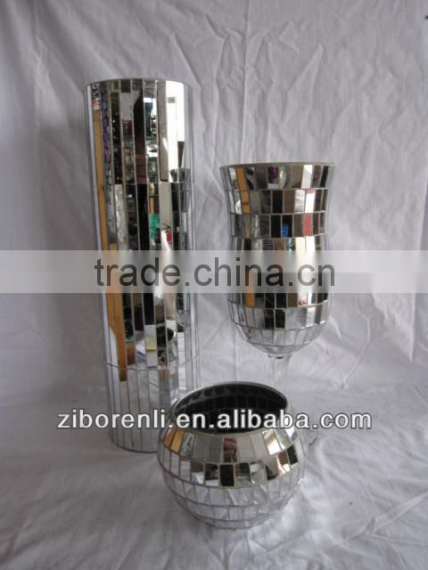 Elegant Mosaic Mirrored Gift Items Antique Art Cheap Silver Colored Glass Vases