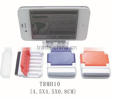 Mini plastic cell phone table holder with screen cleaner