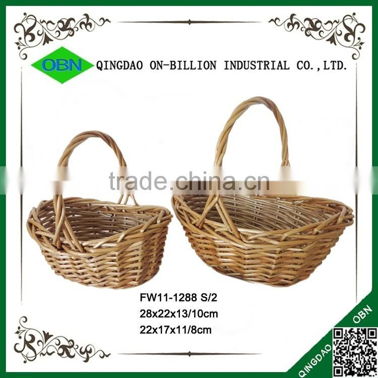 Bulk wicker woven gift basket antique willow handle basket for sale