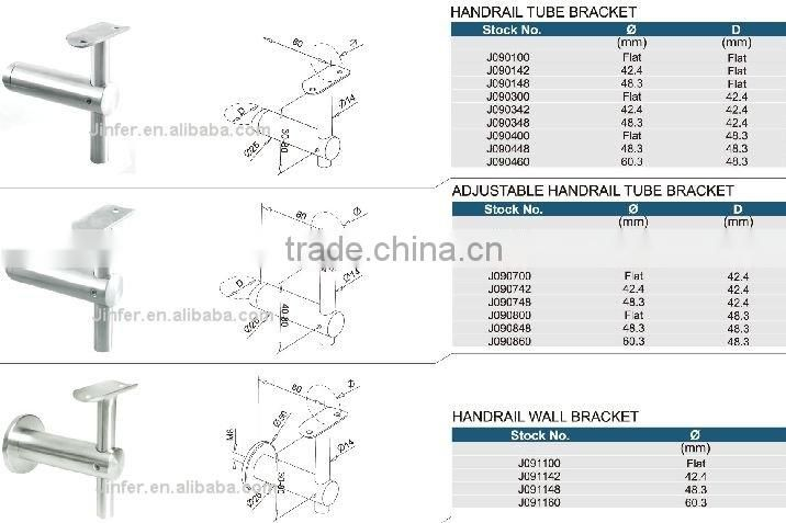 SS/treppengelander/Stainless steel adjustable handrail tube bracket/inox handrail accessory/stainless handrail