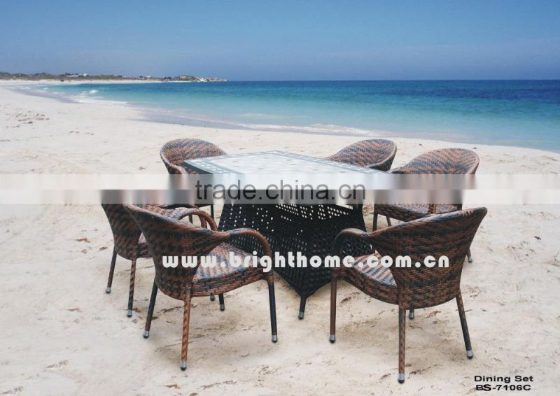 Outdoor PE Rattan Dining Set for Outdoor with 4 Chairs SGS