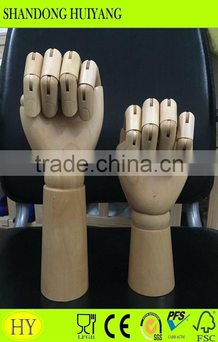 Promotional hot sale artist flexible display model wooden hand