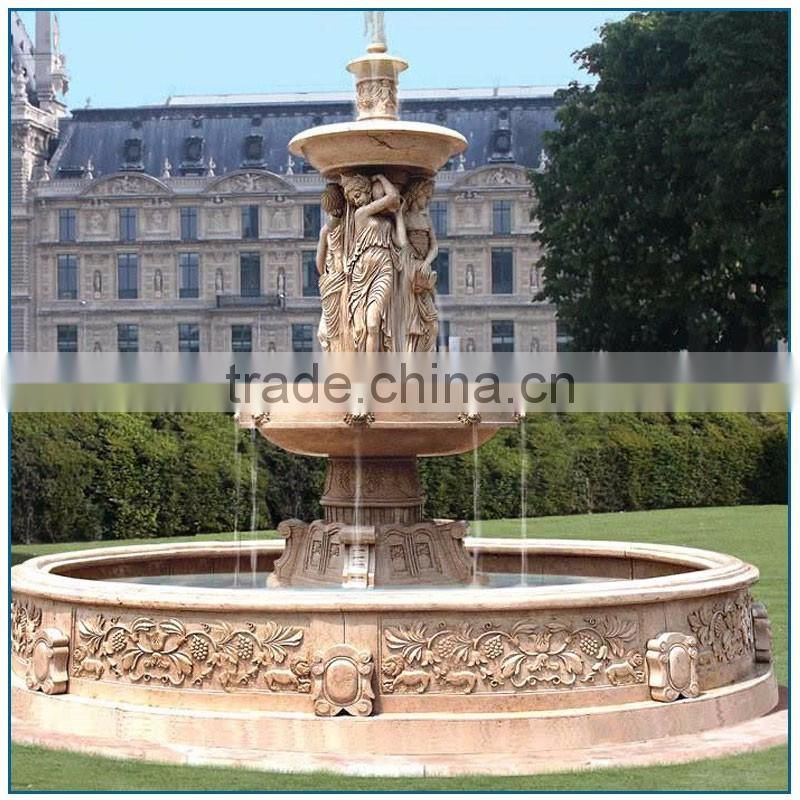 Garden Yellow Marble Water Fountain with Fairies and Lion Heads