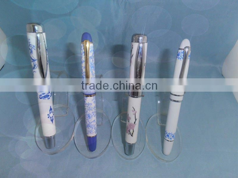 PO-01-pretty blue and white porcelain ball pen for gift