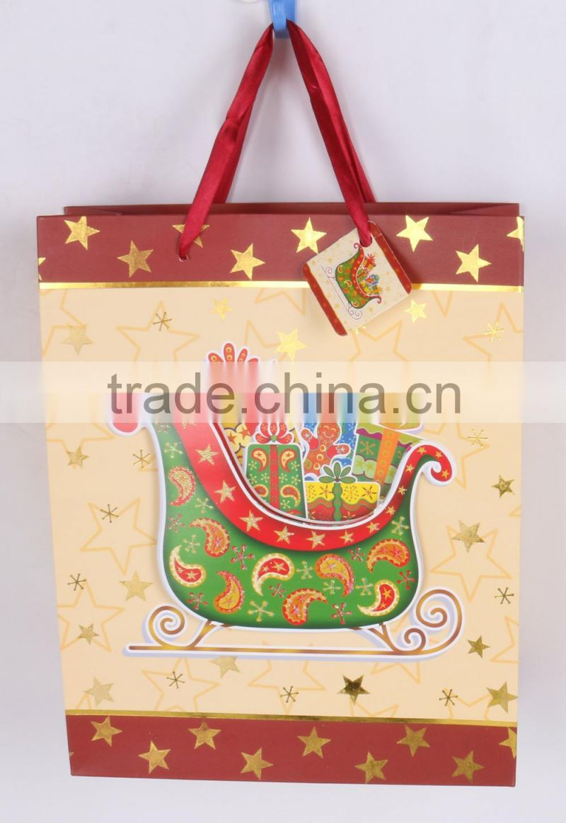Medium 100% covering gold hot stamping printing paper gift bag for packing