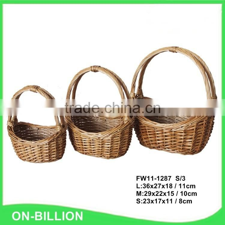 Vintage wicker flower basket with handle for decoration