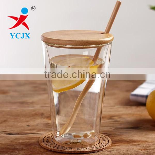 STRAIGHT CLEAR DOUBLE LAYER GLASS WATER CUPS WITH BAMBOO LID
