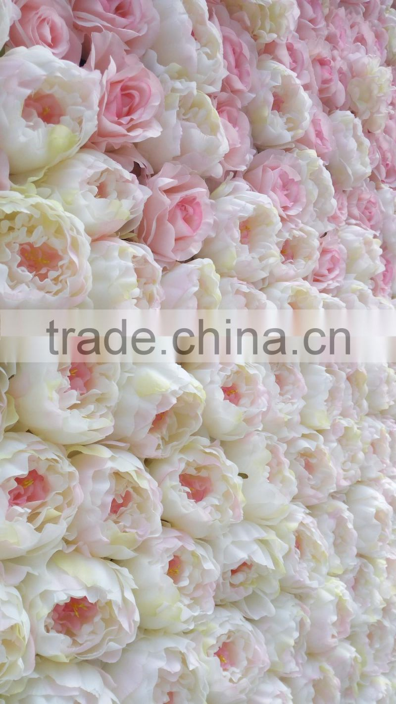 artificial silk ombre flower wall with wood panel for wedding decoration