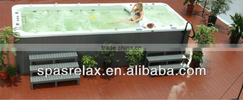 Acrylic outdoor spa hot tub freestanding swim spa pool CE approved large swim pool with massage function