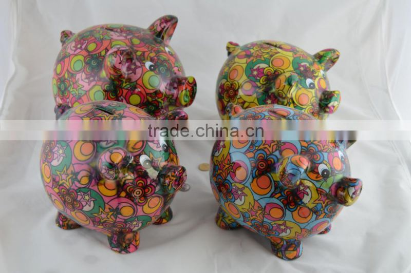 Ceramic colorful flower pattern candy shape coin bank for children's gift