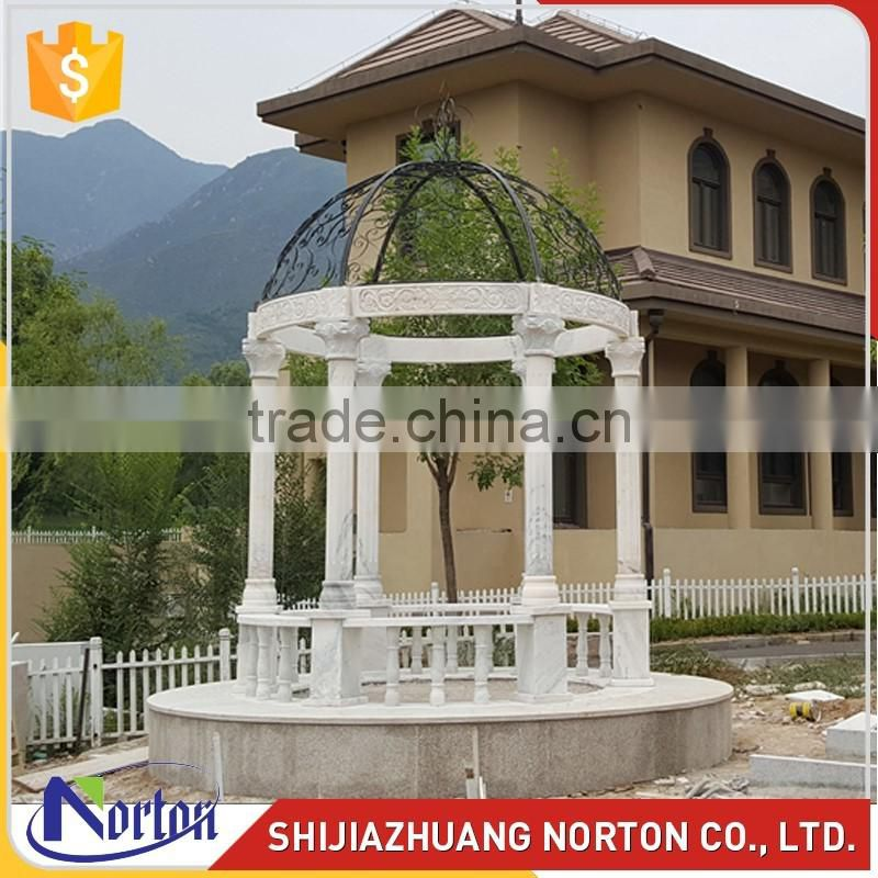 New design europen iron craft with marble pillar gazebo NTGM-001LI