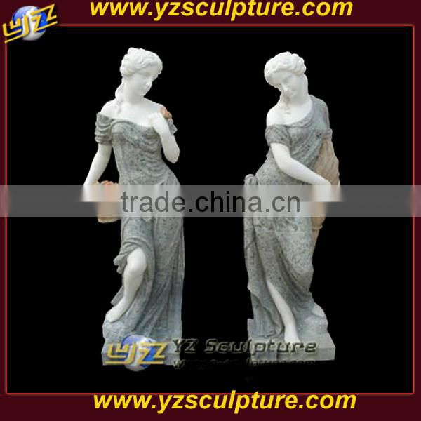 outdoor mixed color marble stone female figure statue sculpture