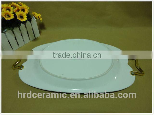 Square 2015 ceramic plate with handle for home decoration