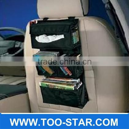 600D black polyester car seat back organizer