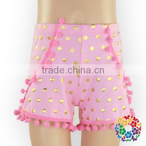 Small Pink Gold Dots running shorts pom pom girls ruffle shorts