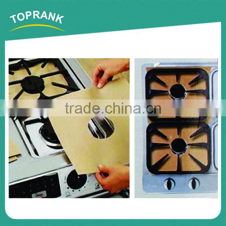 4pcs pack non-stick PTFE coated gas stove protector, high temperature resistance glass fiber stove top protector