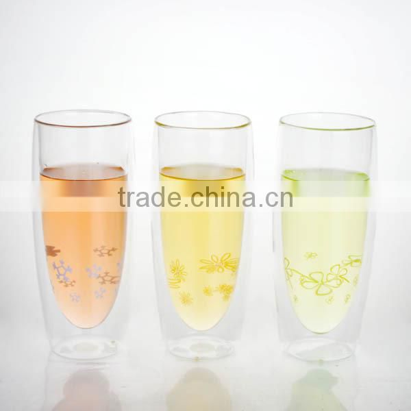 borosilicate double wall glass cup 320ml