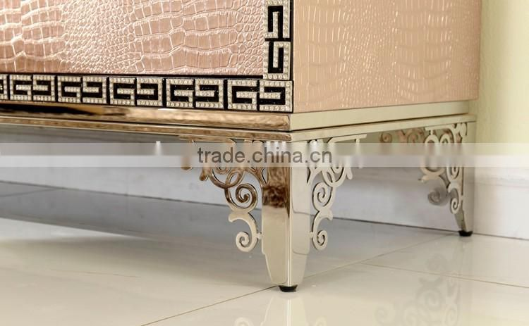 Foshan wholesale price unique desgn golden stainless steel tv stand unit furniture