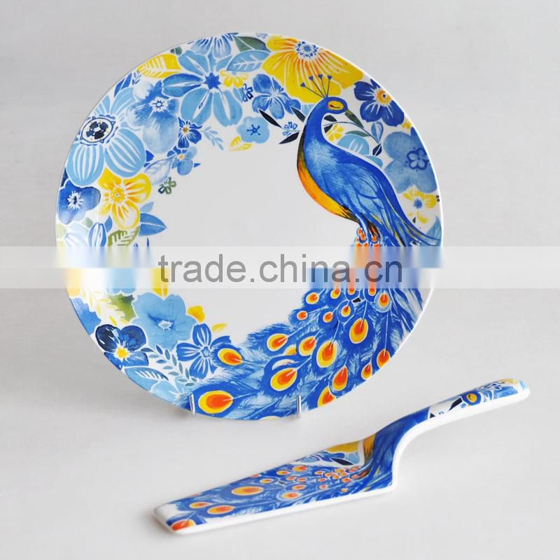 Round Shape Ceramic Cake Plate with Server with Beautiful Decal Printing