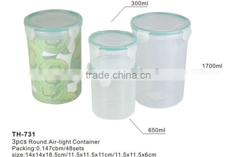 plastic 3pcs air tight container,air-tight food storage container