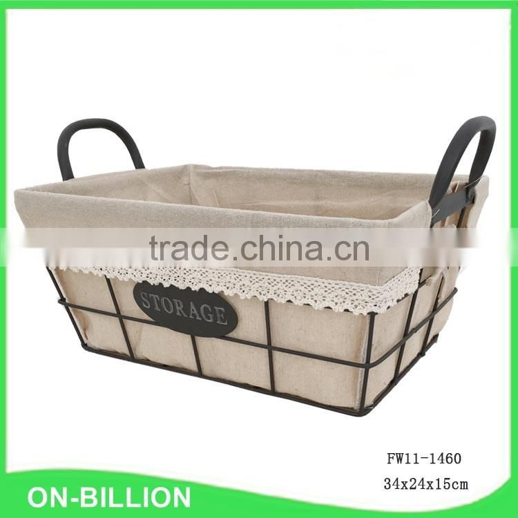 Rectangular rustic wire storage basket