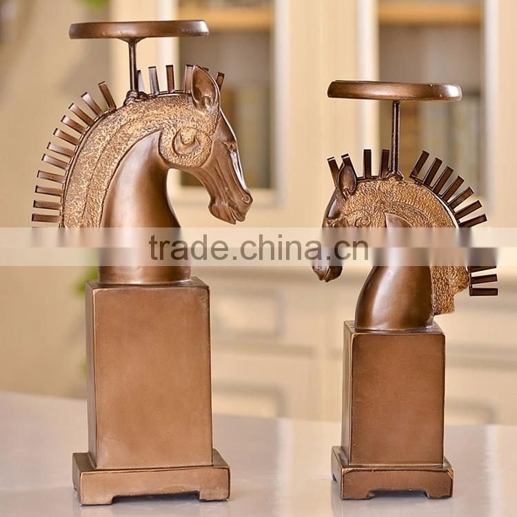 Wholesale retro resin horse head candle holders for wedding